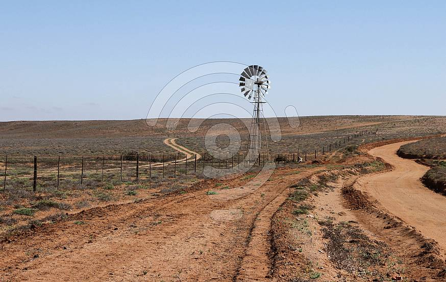 Isolated windmill standing in veld