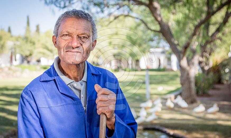 Garden worker in Matjiesfontein