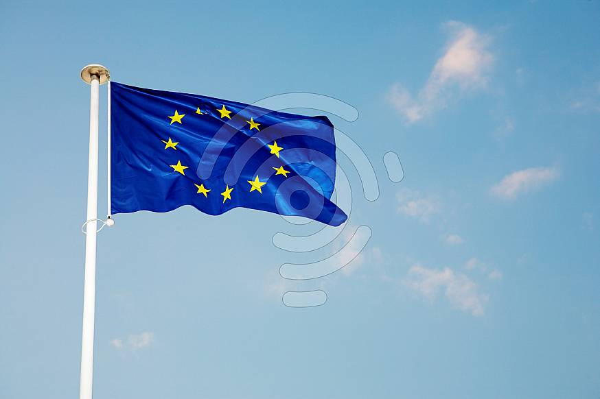 The blue European Union flag