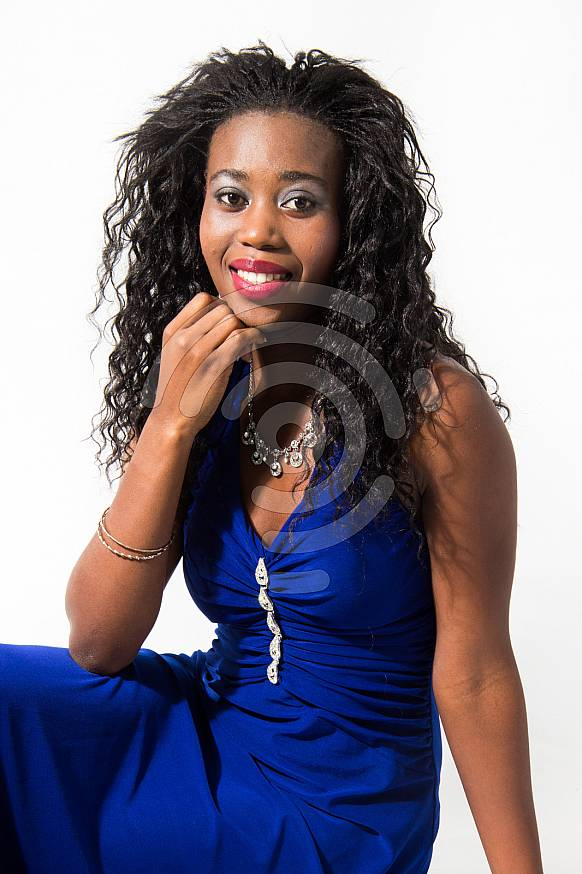Beautiful young black woman with long black hair
