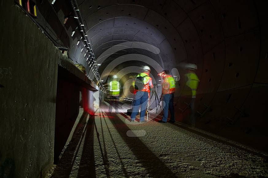 Gautrain tunnel construction at Rosebank station, South Africa.