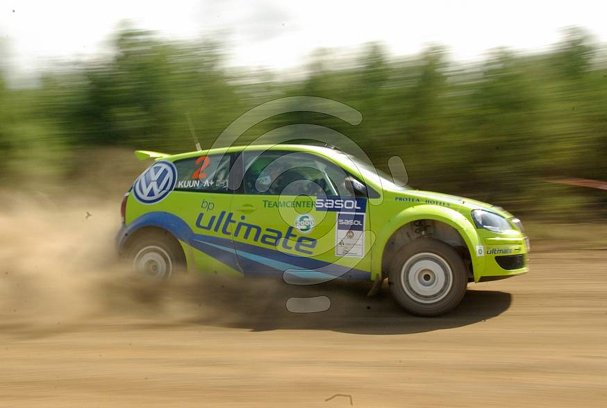 Volkswagen on dirt road in a rally