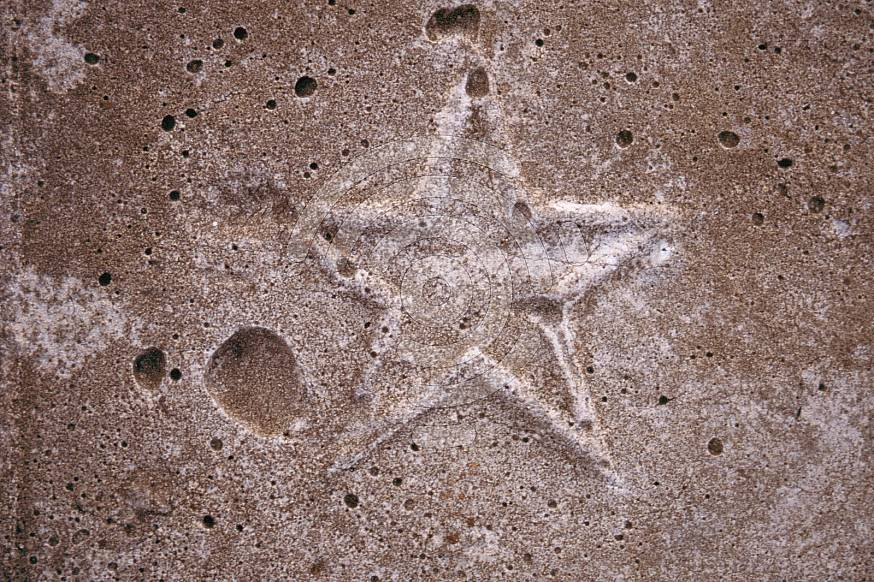 Embossed star in concrete